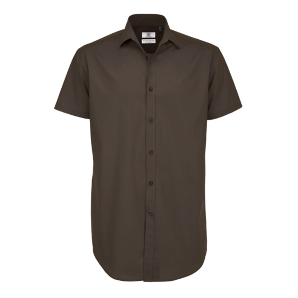 Poplin Shirt Black Tie Short Sleeve / Men