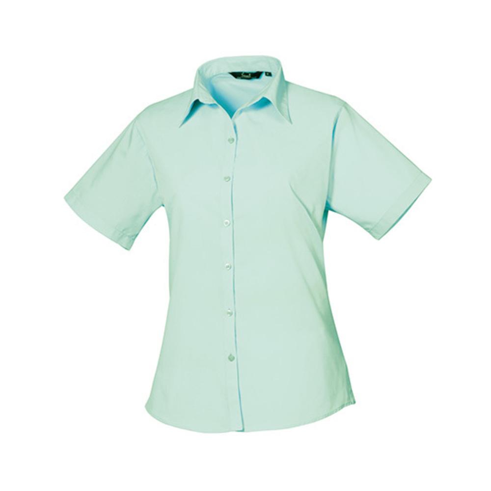 Ladies Poplin Short Sleeve Blouse