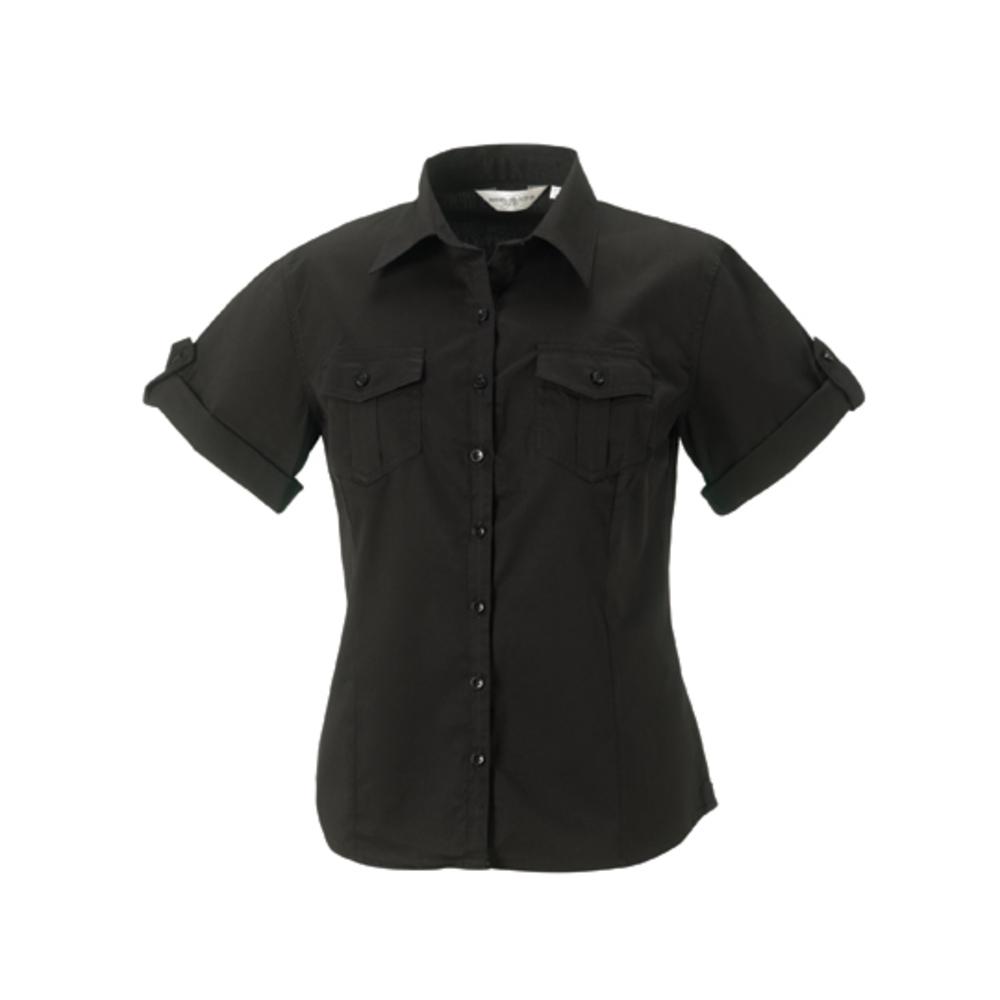 Chemise à manches courtes en sergé pour dames?