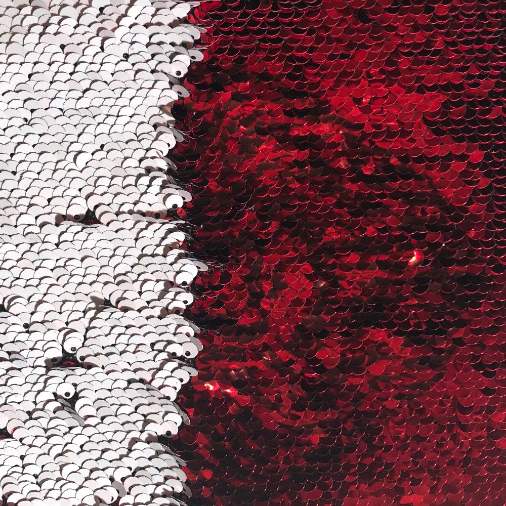 Pailletten Patch red/white für die Sublimation und Applikation auf Textilien