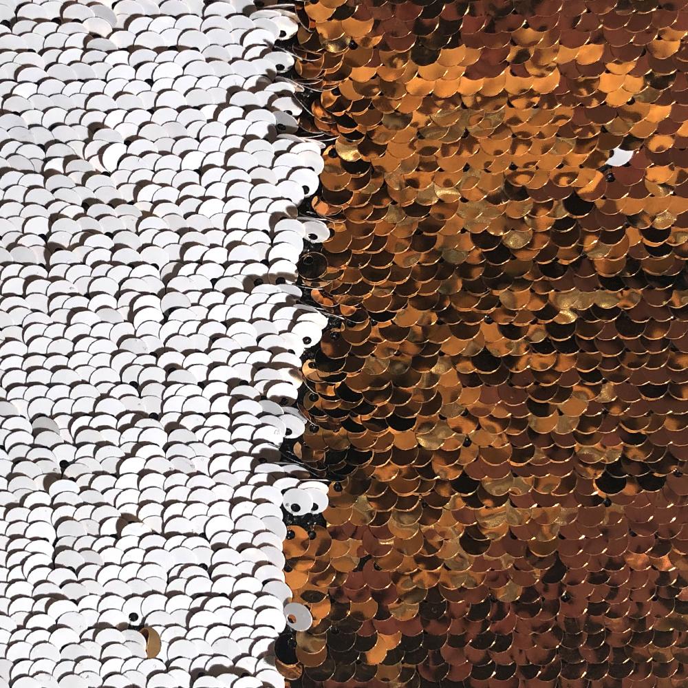 Patch di paillettes oro / bianco per sublimazione e applicazione su tessuti