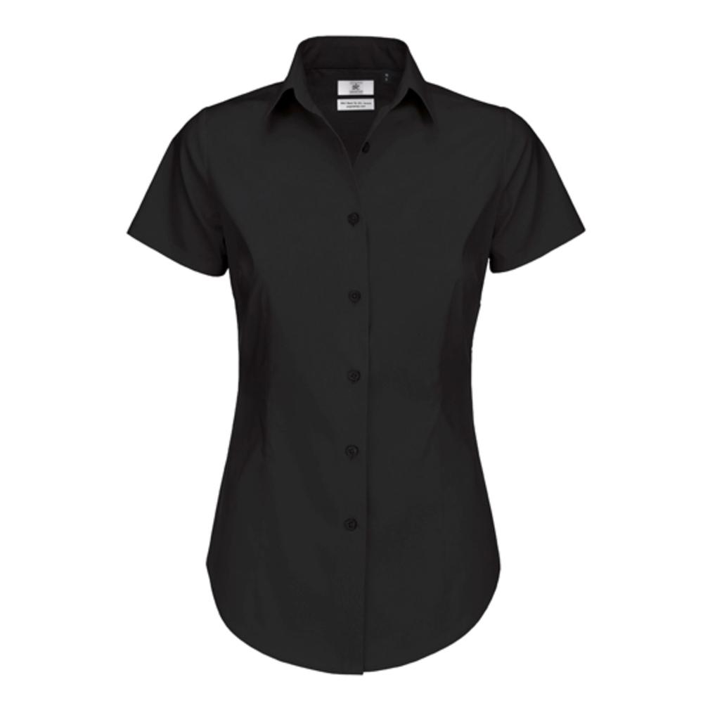 Poplin Shirt Black Tie Short Sleeve / Women