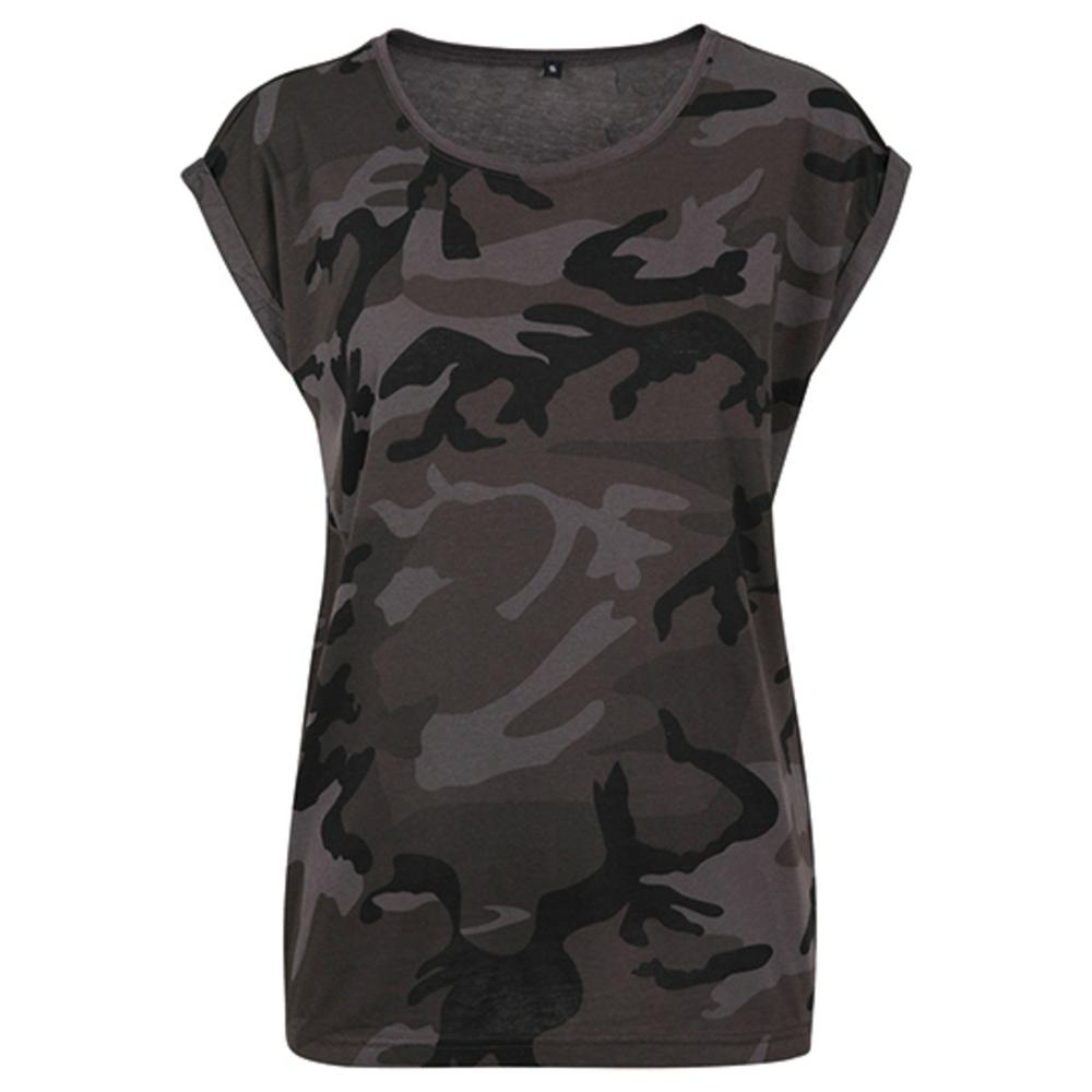 Camiseta de camuflaje con hombros extendidos para mujer