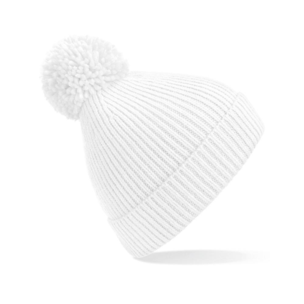 Engineered Knit Ribbed Pom Pom Beanie