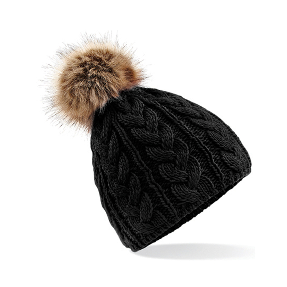 Faux Fur Pop Pom Cable Beanie