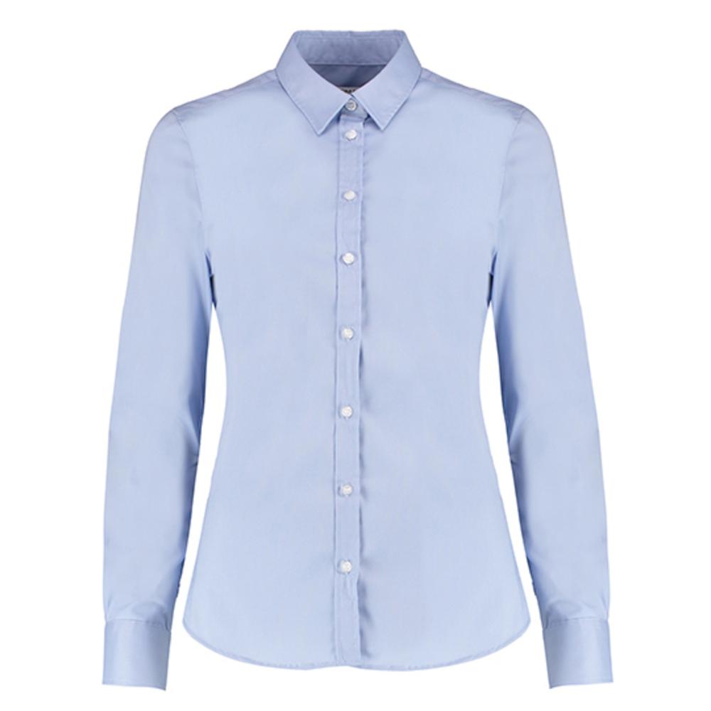 Camisa Oxford elástica de corte entallado de mujer de manga larga
