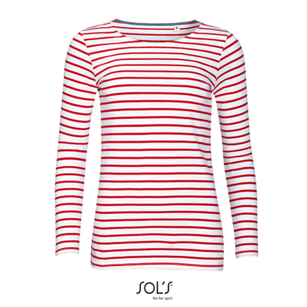 Camiseta de manga larga a rayas para mujer Azul marino