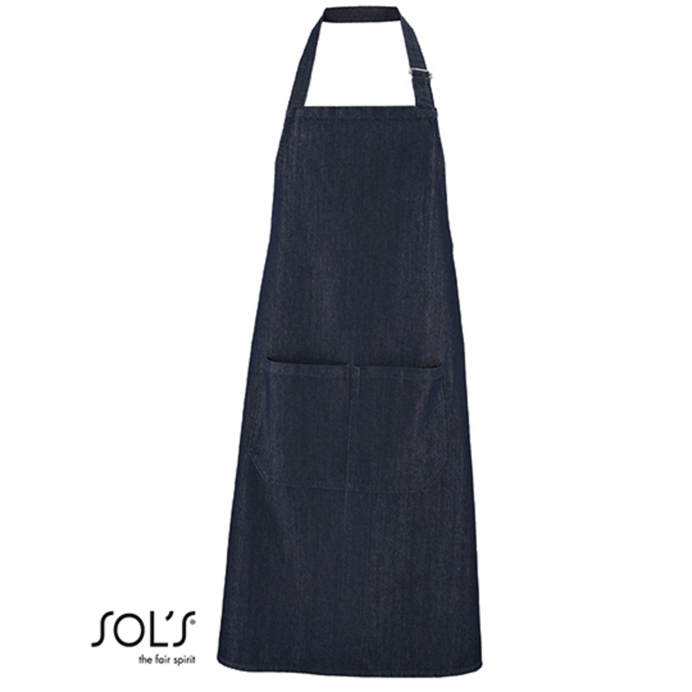 "Denim Bib Apron ""Grant"" with Pocket"