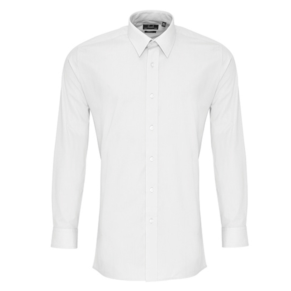 Camicia in popeline aderente a maniche lunghe da uomo
