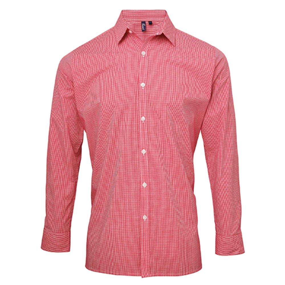 Camisa de algodón de manga larga con microcheck (cuadros vichy) para hombre