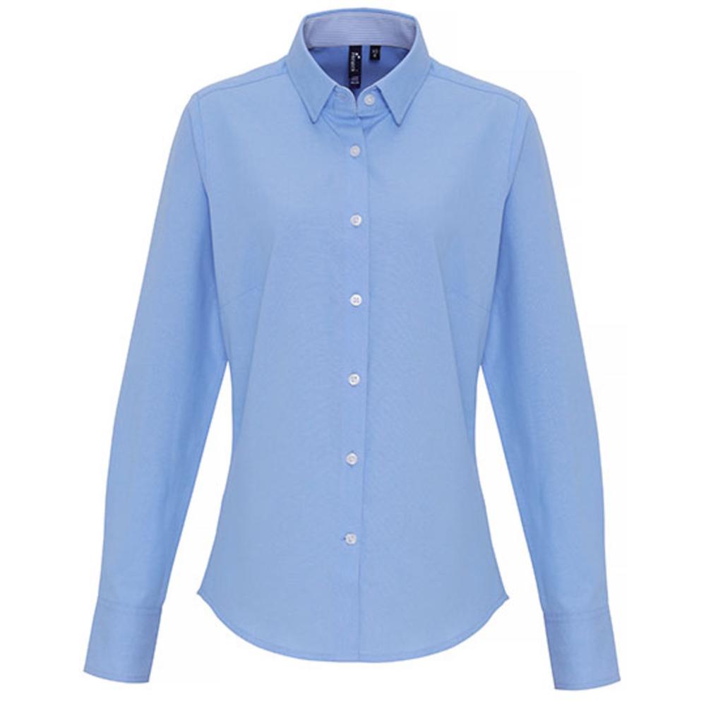 Camisa de rayas Oxford de algodón para mujer