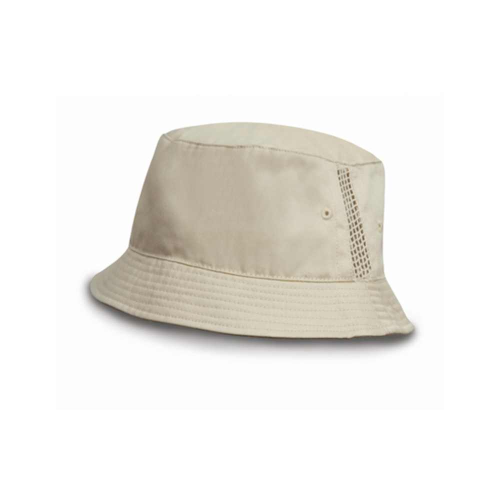 Deluxe Washed Cotton Bucket Hat with Side Mesh Panels