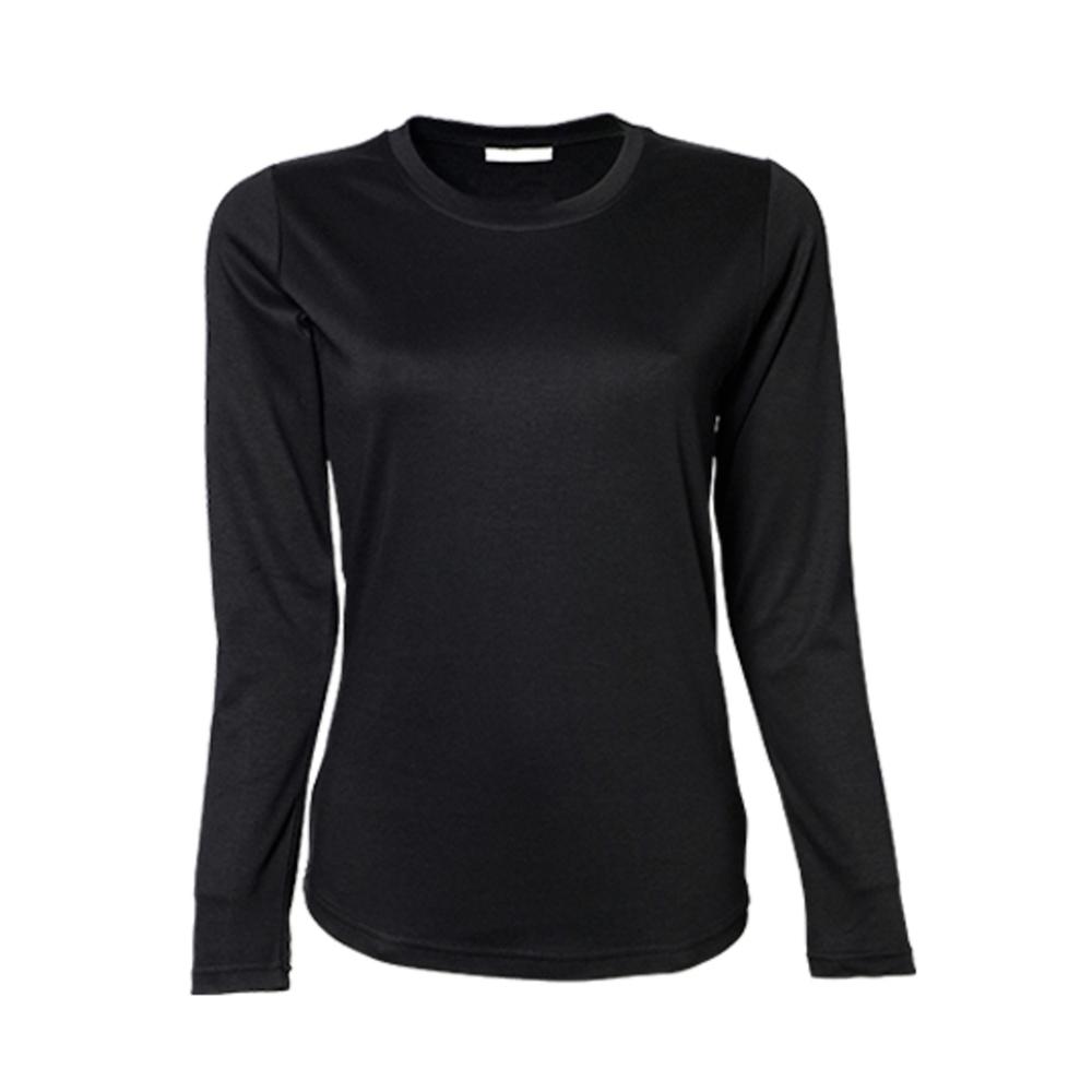 T-shirt interlock a manica lunga da donna