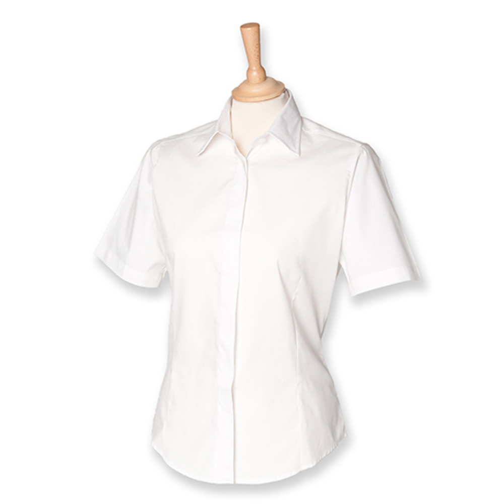 Ladies` Short Sleeved Pinpoint Oxford Shirt
