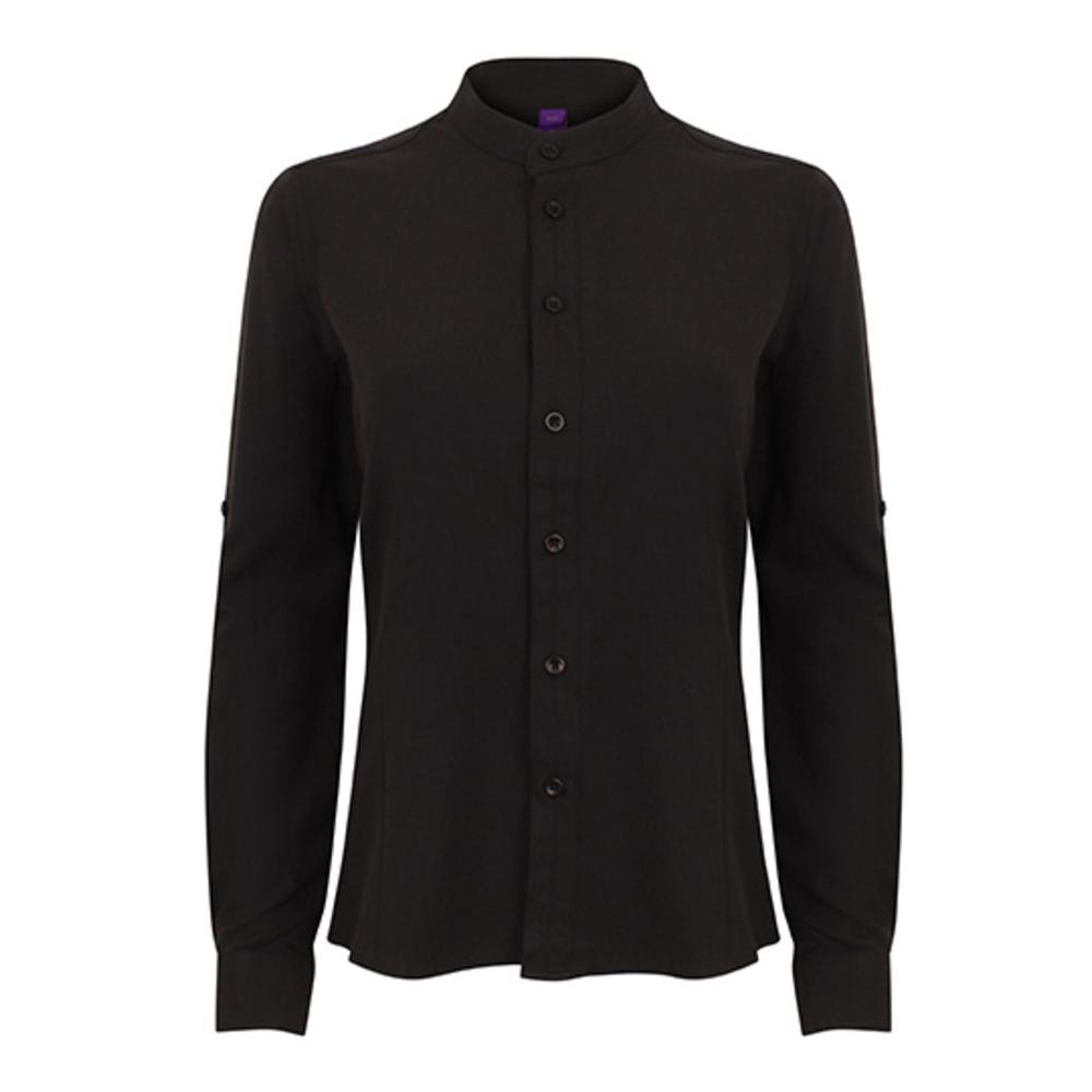 Ladies` Mandarin Shirt Roll Tab Sleeve