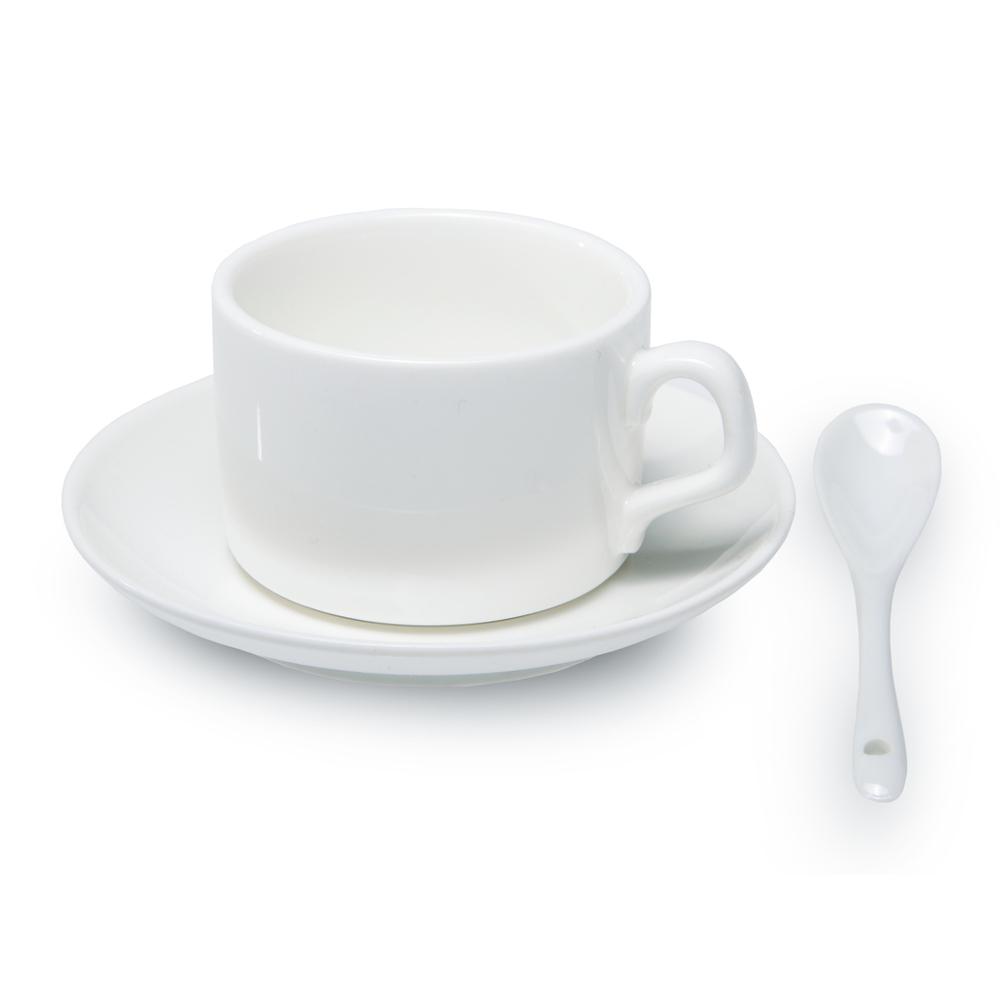 12er Karton Kaffee Set mit Löffel weiß, Grade A