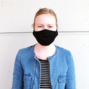 Stoffmaske für Jugendliche (10 - 16 Jahre) aus Baumwolle mehrfach verwendbar - Modell: Youngster schwarz, unbedruckt