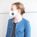 Stoffmaske für Jugendliche (10 - 16 Jahre) aus Baumwolle mehrfach verwendbar - Modell: Youngster weiß, bedruckt