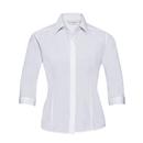 Camisa de popelina de polialgodón ajustada con mangas 3/4 para mujer
