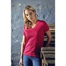 Camiseta con cuello en V y costilla para mujer