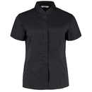 Women`s Tailored Fit Bar Shirt Mandarin Collar Short Sleeve
