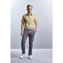 Chemise ajustée en sergé à manches courtes pour hommes
