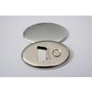 100 ovale Buttons 45mm x 69mm mit Flaschenöffner