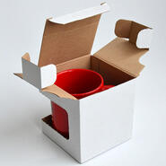 Folding carton with window for cups white