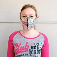 Modello maschera in tessuto: paillettes, rifinito con paillettes reversibili, bianco / oro