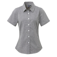 Ladies` Microcheck (Gingham) Short Sleeve Cotton Shirt