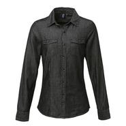 Camicia in denim con cuciture jeans da donna