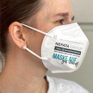 Modello maschera FFP2: Markus, stampato in bianco (senza valvola di espirazione)