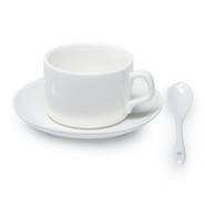 12 unidades de tazas y cucharilla blanca, grado A