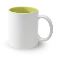 12 Mugs bicolres avec intérieur jaune, 11oz, qualité A