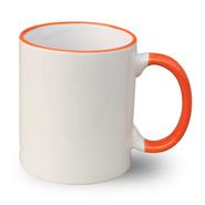 12 Mugs bicolores avec poignée et rebord orange, 11oz, qualité A