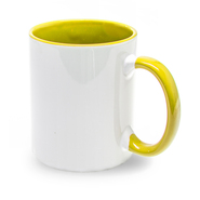 12pcs. cardboard cup inside handle yellow, 11oz, Grade A
