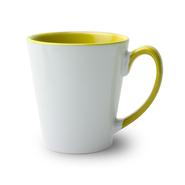 12 Mugs conique bicolres avec anse et intérieur jaune, qualité A