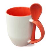 Taza y cucharilla con asa e interior rojo, A, 12 unidades