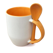 12er cardboard cup and spoon inside handle orange, A