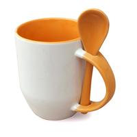 36er Karton Tasse u. Löffel innen Griff orange, A