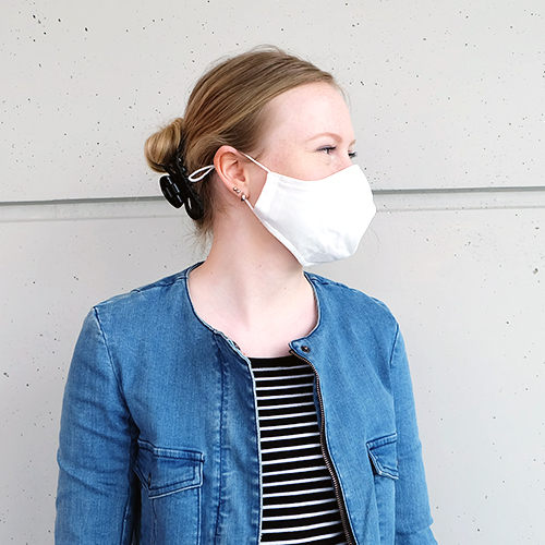 Cloth mask for teenagers (10 - 16 years) made of cotton can be used several times - model: Youngster white, unprinted