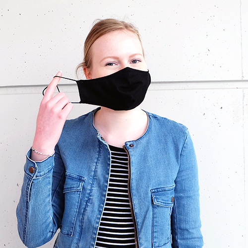 Fabric mask for teenagers (10 - 16 years) made of cotton can be used several times - model: Youngster black, unprinted