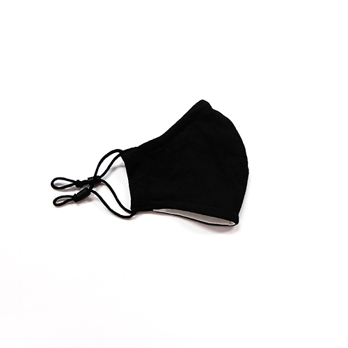 Cloth mask for children made of cotton reusable - model: Kiddy, black unprinted