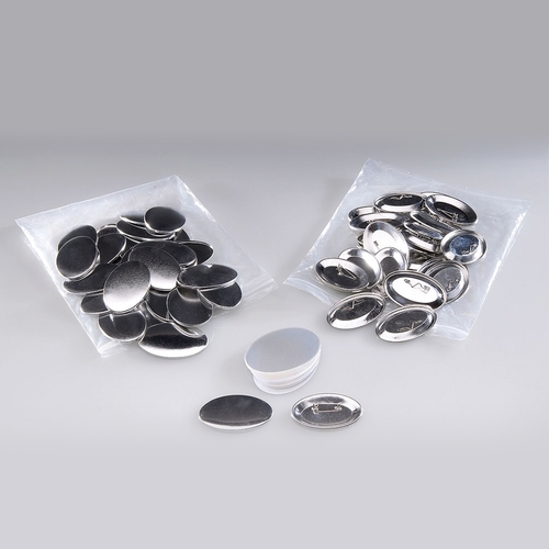 100 oval buttons with pin 45mm x 69mm